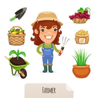 Conjunto de ícones do agricultor feminino