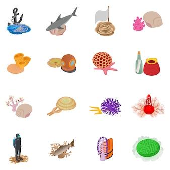 Conjunto de ícones do ambiente marinho