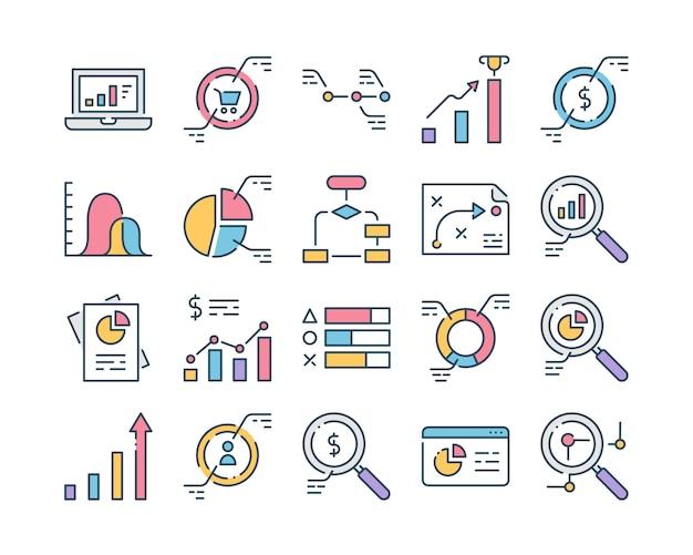 Conjunto de ícones do analytics