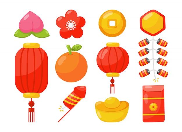 Conjunto de ícones do ano novo chinês isolado.