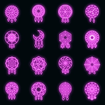 Conjunto de ícones do apanhador de sonhos. conjunto de contorno de ícones de vetor de apanhador de sonhos, cor de néon no preto