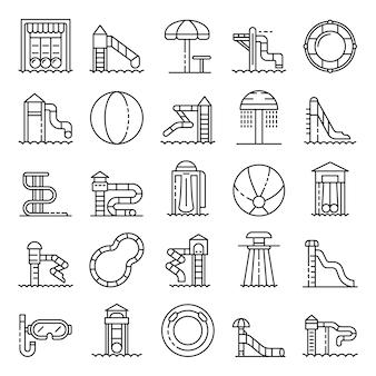 Conjunto de ícones do aquapark, estilo de estrutura de tópicos