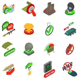 Conjunto de ícones do ato de guerra, estilo isométrico