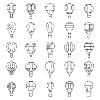 Conjunto de ícones do balão de ar do céu