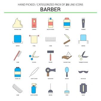 Conjunto de ícones do barbeiro linha plana