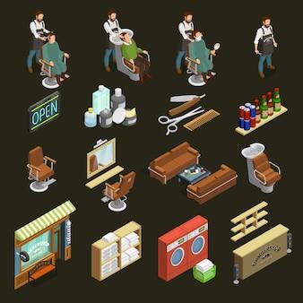Conjunto de ícones do barbeiro