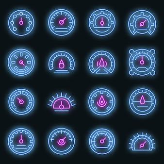Conjunto de ícones do barômetro. conjunto de contorno de ícones de vetor de barômetro, cor de néon no preto