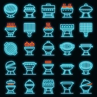Conjunto de ícones do braseiro. conjunto de contorno de ícones de vetor de braseiro de cor néon no preto