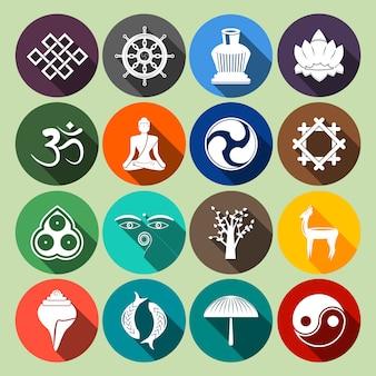 Conjunto de ícones do budismo plano