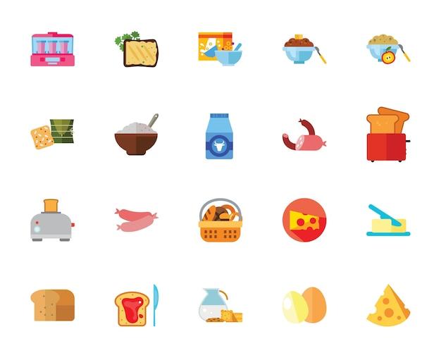 Conjunto de ícones do café da manhã