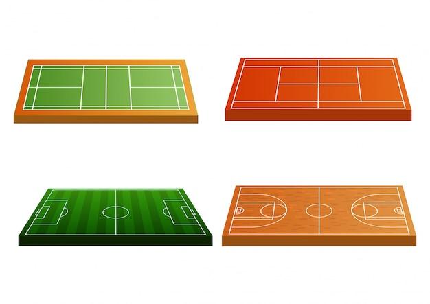 Conjunto de ícones do campo de esporte.