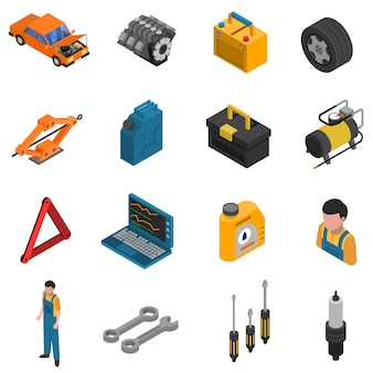 Conjunto de ícones do carro serviço isométrico isolado