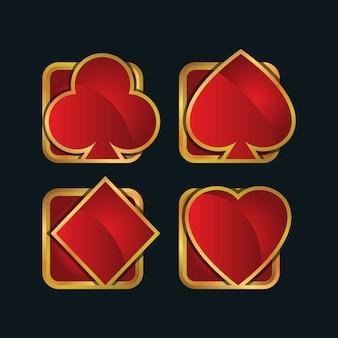 Conjunto de ícones do cartão de jogo de ouro moderno