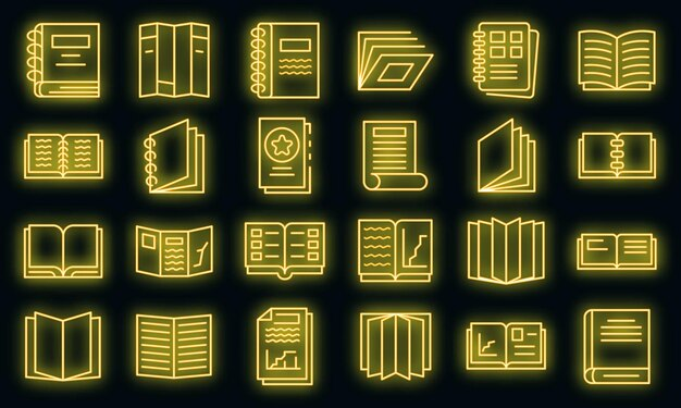 Conjunto de ícones do catálogo. conjunto de contorno de ícones de vetor de catálogo cor de néon em preto