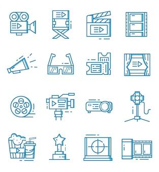 Conjunto de ícones do cinema com estilo de estrutura de tópicos