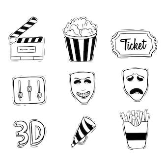 Conjunto de ícones do cinema com estilo preto e branco doodle