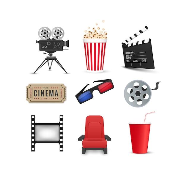 Conjunto de ícones do cinema isolados no fundo branco objetos da indústria cinematográfica bilhetes pipoca tira de filme