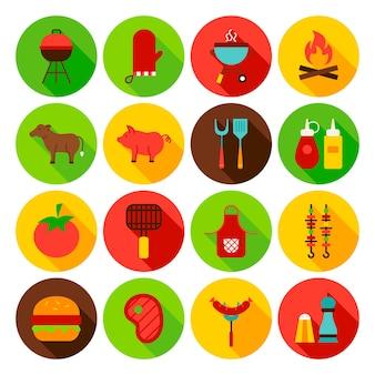Conjunto de ícones do círculo de comida de churrasco. ilustração em vetor design plano. coleção de símbolos da web.