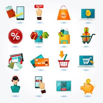 Conjunto de ícones do comércio eletrônico