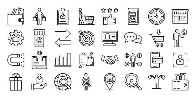Conjunto de ícones do comprador, estilo de estrutura de tópicos