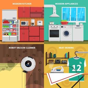 Conjunto de ícones do conceito de aparelhos domésticos