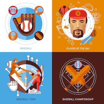 Conjunto de ícones do conceito de beisebol