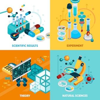 Conjunto de ícones do conceito de ciência