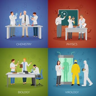 Conjunto de ícones do conceito de cientista