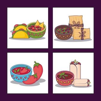 Conjunto de ícones do conceito de comida mexicana