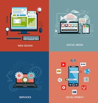 Conjunto de ícones do conceito de design plano