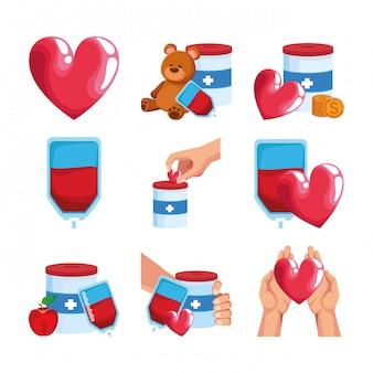 Conjunto de ícones do conceito de doação e corações