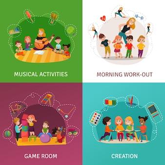 Conjunto de ícones do conceito de jardim de infância