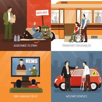 Conjunto de ícones do conceito de pessoas com deficiência