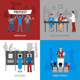 Conjunto de ícones do conceito de política