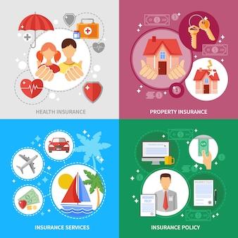 Conjunto de ícones do conceito de seguros