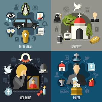 Conjunto de ícones do conceito fúnebre