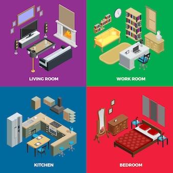 Conjunto de ícones do conceito isométrico interior