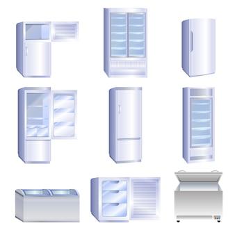 Conjunto de ícones do congelador, estilo cartoon