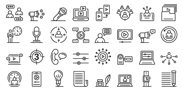 Conjunto de ícones do contador de histórias, estilo de estrutura de tópicos