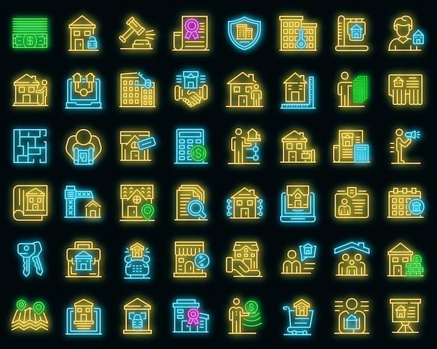 Conjunto de ícones do corretor de imóveis. conjunto de contorno de ícones de vetor de corretor de imóveis, cor de néon no preto