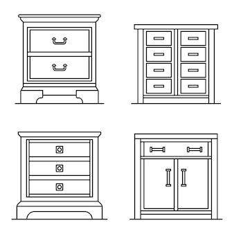 Conjunto de ícones do criado-mudo. conjunto de contorno de ícones do vetor de criado-mudo
