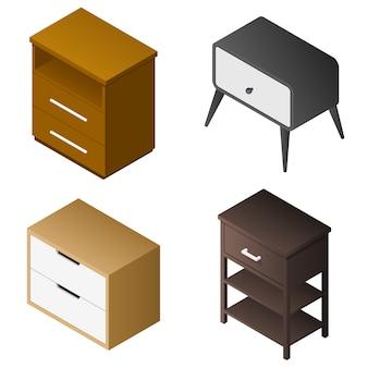 Conjunto de ícones do criado-mudo