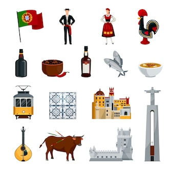 Conjunto de ícones do design plano portugal com culinária de símbolos de trajes nacionais e atrações isoladas