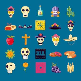 Conjunto de ícones do dia da festa da morte
