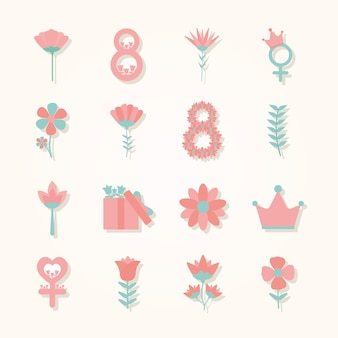 Conjunto de ícones do dia da mulher em um fundo rosa claro