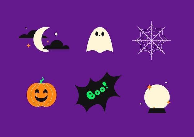 Conjunto de ícones do dia das bruxas celebração do dia das bruxas 31 de outubro lua e estrelas fantasma de abóbora bola mágica