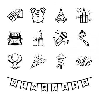 Conjunto de ícones do dia de ano novo