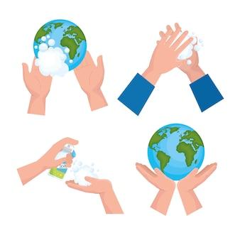 Conjunto de ícones do dia de lavagem global das mãos, higiene, higiene, saúde e limpeza