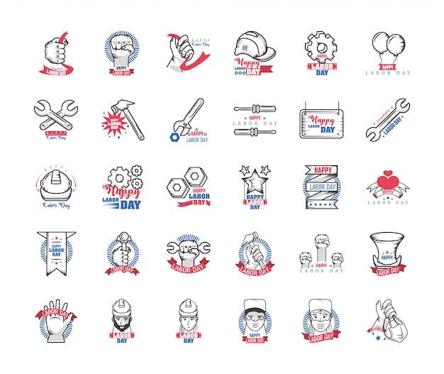 Conjunto de ícones do dia do trabalho