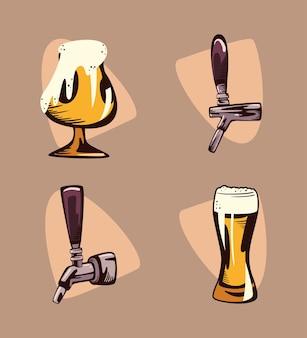 Conjunto de ícones do dia internacional da cerveja